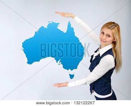 Business Woman Presentation Of The Continent Of Australia