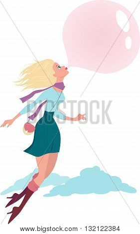 Cute cartoon girl flying in the air on a bubble gum bubble, vector illustration