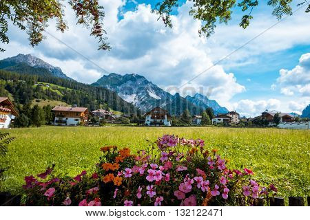 summer village in Val Gardena South Tirol Dolomiten mountains Italy