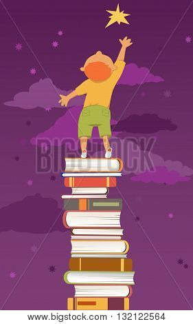 Boy, standing on a pile of book reaching for a star