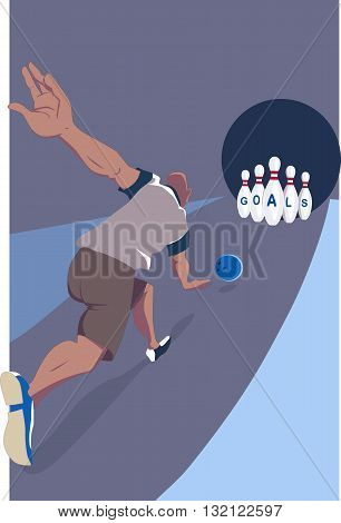 Man striking bowling pins with the word goals written on them in a bowling alley, conceptual vector illustration