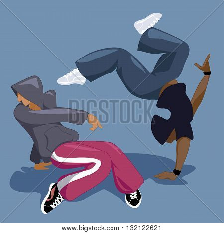 Two young men b-boying or break dancing, vector illustration, no transparencies, EPS 8