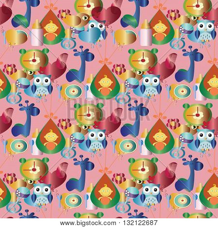 Seamless pattern for baby. On the pink background are baby in the cradle, colored balls, feeding bottle, toys, clock,yellow chick, blue giraffe, soother,blue owl, flower, rattle. Can be scaled to any size.