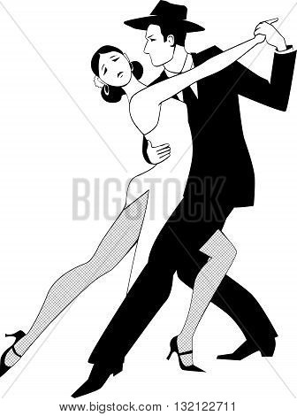 Tango clip art, black line vector drawing, no white