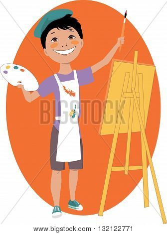 Little cartoon boy standing in front of an easel with a palette and a paintbrush