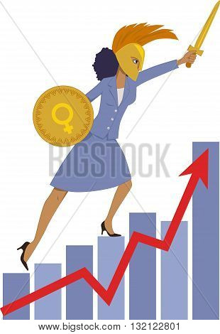Female leader in business, a businesswoman in a Spartan armor charges up a graph
