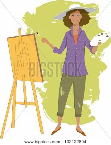 Female artist painting with an easel, EPS8 vector illustration