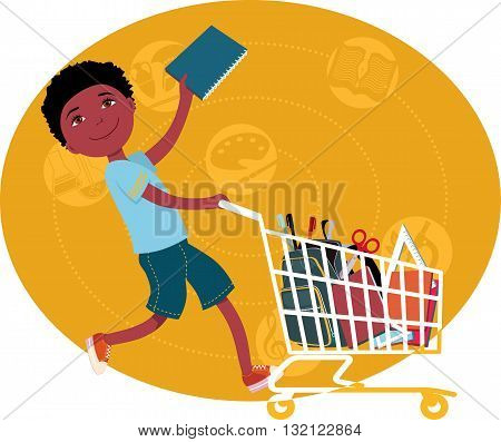 Back to school shopping. Elementary school student riding a shopping cart, filled with school supplies, vector cartoon