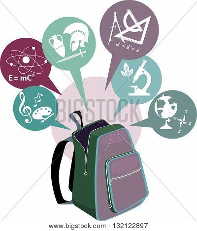 School backpack and symbols of subjects, EPS8 vector illustration