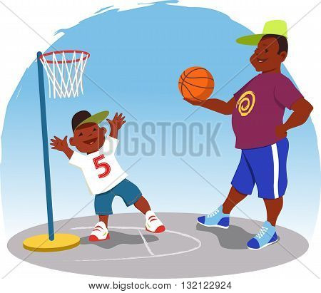 Black man plays basketball with a little boy in the backyard, vector cartoon