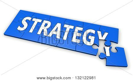 Business strategy development concept with strategy sign and word on a blue jigsaw puzzle 3D illustration isolated on white background.