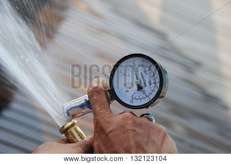 measure the water pressure in the fire protection equipment