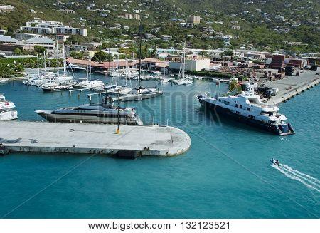 Luxury yacht entering the marina at St.Thomas, US Virgin Islands