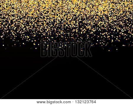 Abstract background with falling confetti golden confetti round confetti pieces