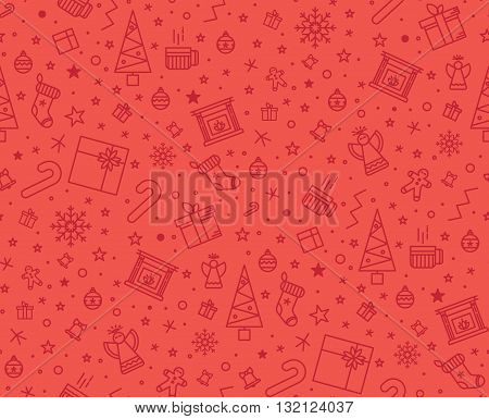 Christmas pattern in the red for the gift wrapping for the new year