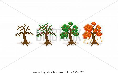 Pixel art trees for four seasons: winter spring summer and autumn. 8-bit retro background