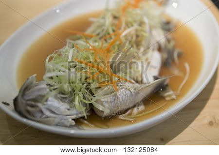 Steamed Sea Bass Fish With Vegetable