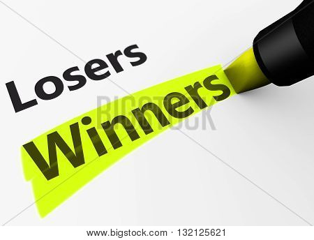 Winning business and lifestyle versus losers concept with a 3d rendering of winner word and text highlighted with a yellow marker.
