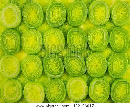 Sliced leek. Background close up Sliced leek