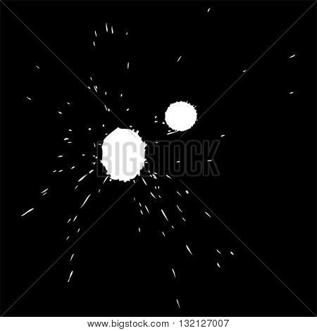 Vector artistic white paint hand made creative wet dirty ink or oil drop spots silhouette isolated on black background