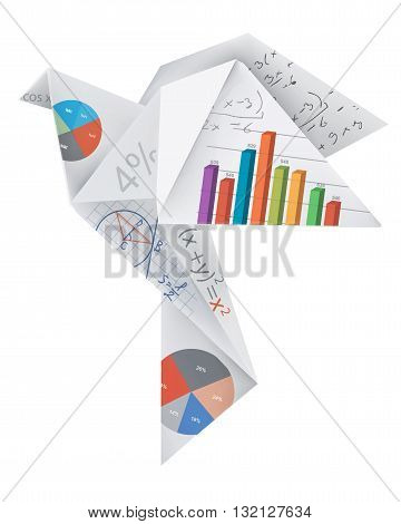 Illustration of folded paper dove with mathematics symbols and graphs. Vector available.