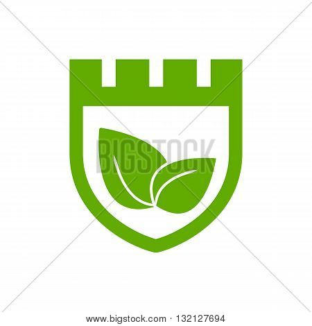 Green nature protection logo vector illustration isolated on white background.