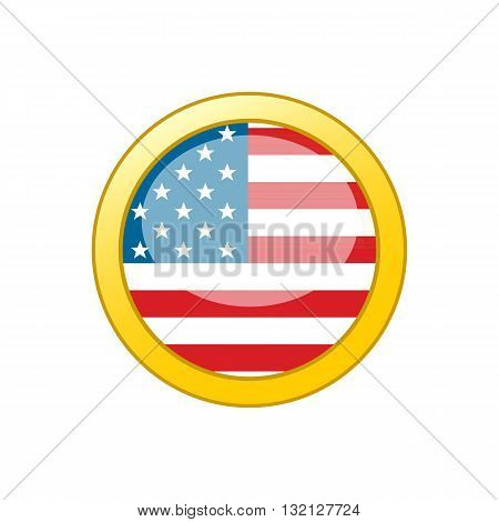 Button with American flag inside gold circle vector illustration isolated on white background.