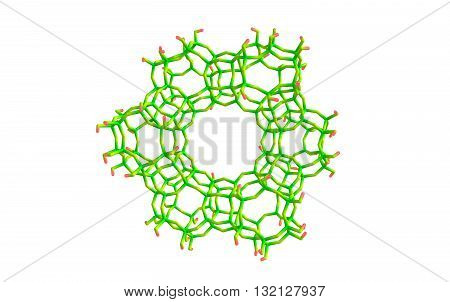 Zeolites are microporous aluminosilicate minerals commonly used as commercial absorbents and catalysts. 3d illustration
