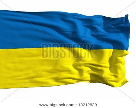 Ukrainian Flag, Fluttering In The Wind