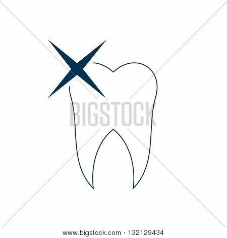 Line drawing tooth with blue sparkle vector illustration isolated on white background.