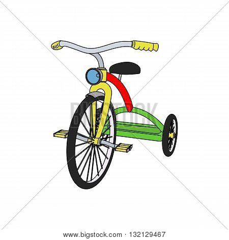 Beautiful colored 3D tricycle vector illustration isolated on white background.