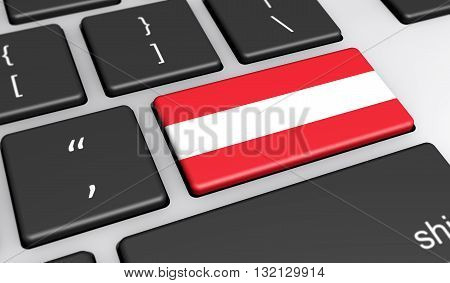 Austria digitalization and use of digital technologies concept with the Austrian flag on a computer key 3d illustration.