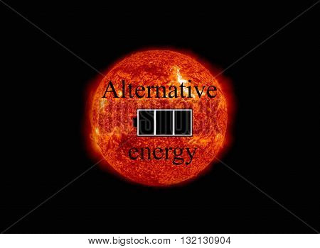 Symbol Of The Battery Charged At The Background Of The Sun. Nasa