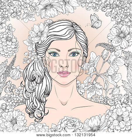 Hand drawn blue-eyed girl with flowers and butterfly. Black and white doodle floral frame for coloring. Monochrome image of woman with long curly hair. Vector sketch.
