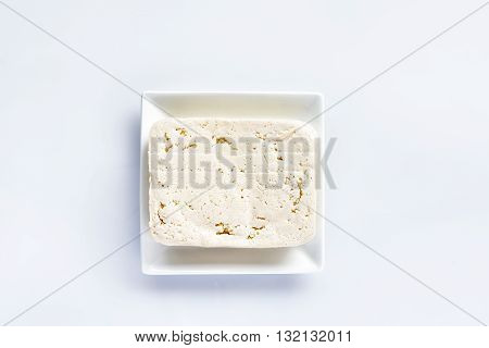 Tofu, fresh block of tofu on white background