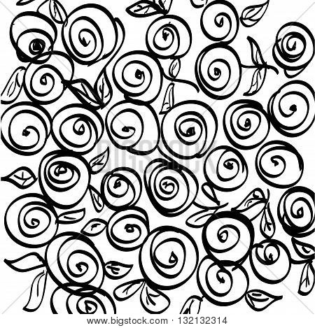 Uncolored floral pattern for adult coloring book, coloring pages. Vector abstract roses.