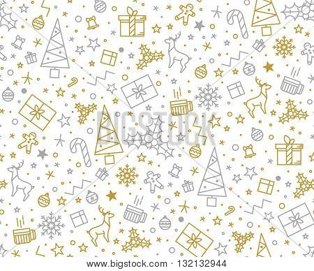 Seamless pattern for Christmas on a white background with gold elements Christmas. Beautiful pattern for a luxurious gift wrapping paper t-shirts greeting cards 2016