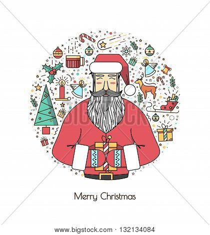 Santa Claus with presents and christmas elements in a circle a thin line. A vivid illustration of the new year 2016. A beautiful print or invitation.