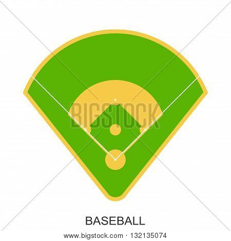 Baseball field icon. Green grass game baseball play stadium in flat style isolated on white
