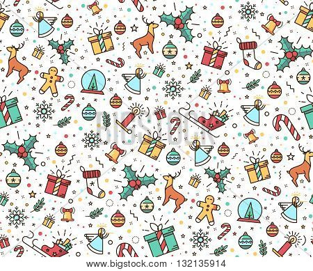 Colorful seamless pattern for Christmas. Beautiful background fabric of ipodarochnoy paper. Modern style in a thin line. Ornamental Christmas items.