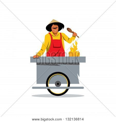 The smiling young asian cook is preparing the tasty pancake on his outdoor mobile street kitchen. Isolated on a white background