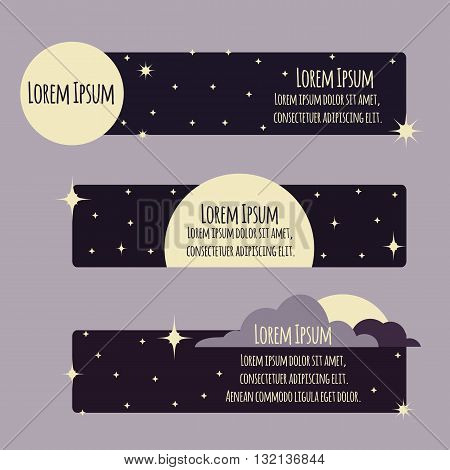 Set of flat banners with night sky, moon, stars and place for text. Vector element for your design