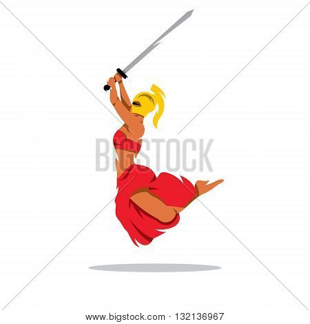 A Spartan Girl with sword in a jump attack. Isolated on a white background