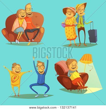 Senior people icons set with pastimes symbols on blue background cartoon isolated vector illustration