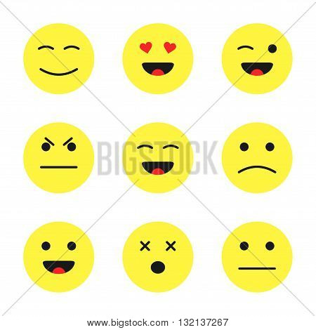 Set of cute smiley emoticons. Cartoon flat style faces smiles isolated on white background.