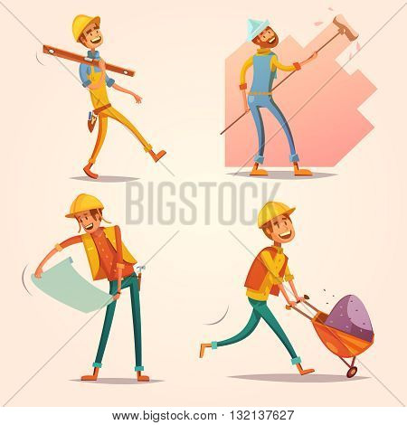 Construction builder worker in yellow uniform helmet at work cartoon retro icons set retro isolated vector illustration