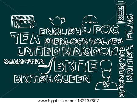 illustration in style of flat design in the theme of Great Britain.