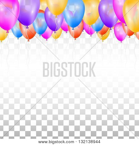 Ceiling Covered in Balloons on transparent background. Vector illustration. Design for wedding.