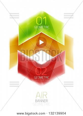 Colorful glossy arrow web box. Vector abstract templates