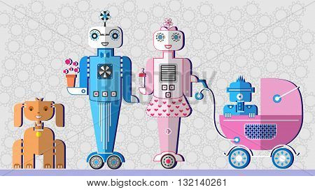 Robot family. Robot parents. Robot dog. Robot baby in a stroller. Flat design icon set. Vector illustration